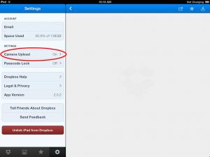 Dropbox settings
