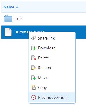 Screenshot of right click menu on dropbox