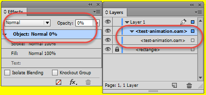 Settings in the layers and effects panel.