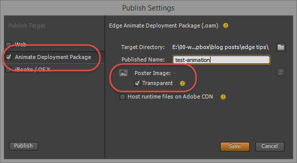 Edge Animate publish settings